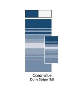 Awning Fabric 1-Piece 25' Ocean Blue White Weatherguard