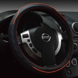 Steering Wheel Cover Black & Red Stitch 38Cm