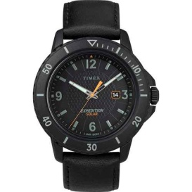 Buy Timex TW4B14700JV Gallatin Solar Watch - Leather Strap/Black Dial -