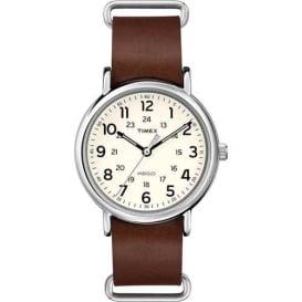 Buy Timex T2P495JV Weekender Slip-Thru - Brown Leather Strap - Outdoor