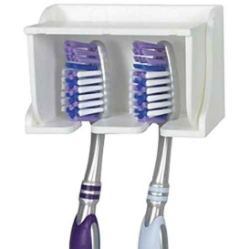 White Pop-A-Toothbrush Wall Mounted Toothbrush Holder