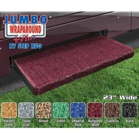 Jumbo Wraparound Plus RV Step Rug Burgundy