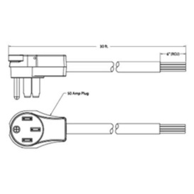 Flex 50A Power Cord Male Only 30'