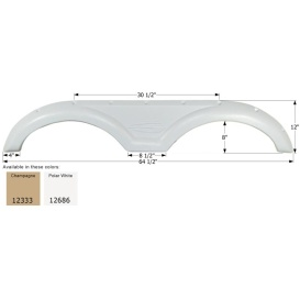 Fender Skirt for Gulf Stream-Tandem Axle, Polar White